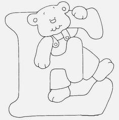Afabeto moldes de letras urso fofo - letras molde para eva ursinho dengoso - alfabeto para colorir ou imprimir - Alfabetos Lindos