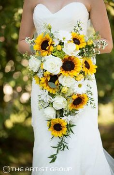 sunflower bridal bouquet cascading bouquet wedding bouquet bride bouquet ivory bouquet greenery bouquet made to order Sunflower Wedding Bouquet Trending 2020 - CowlesNCP ~ Make your Wedding Ideas Bouquet En Cascade, Cascading Wedding Bouquets, Fall Wedding Flowers, Bride Bouquets, Bouquet Wedding, Sunflower Wedding Flowers, Fall Sunflower Weddings, Wedding Bouquets With Sunflowers, Country Wedding Bouquets