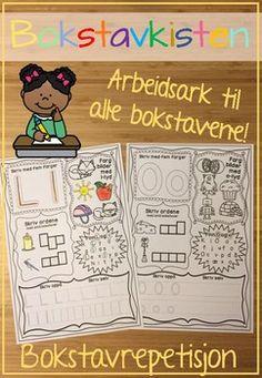 Arbeidsark til repetisjon av bokstavene! Her kan elevene ve seg p  skrive bokstavene, lete etter bokstaven, finne bilder med bokstavlyden, skrive ord med bokstaven og skrive bokstaven i bokstavhus. I tillegg er alt uten farger og trenger en real overhaling med fargestiftene!