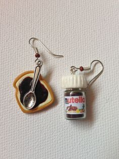 Polymer clay Nutella and bread earings