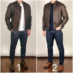 Boots and Leather Jacket 🥾🥾🔥🔥 Which outfit would you wear today❓ Boots left: Tobacco President Boots right: Brandy Captain Jacket: no longer in stock Image may contain: one or more people, people standing and shoes How to beat the Monday blu Stylish Men, Men Casual, Casual Wear, Mode Man, Formal Men Outfit, Herren Style, Herren Outfit, Business Casual Outfits, Men's Casual Outfits