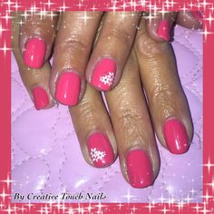 Coral shellac with White flower art transfer.
