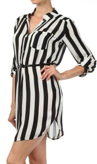 Black and White stripe dress, referee Sheer, Lined, Striped Dress with mandarin collar, button placket, single front chest pocket, cuffed
