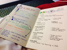 Beautiful index / legend system for a student's notebook just before finals week.