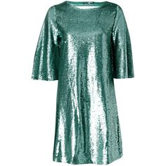 Boohoo Boutique Leila All Over Sequin Shift Dress | Boohoo (125 DKK) found on Polyvore featuring women's fashion, dresses, sequin shift dress, green cocktail dress, sequin dresses, green shift dress and green dress