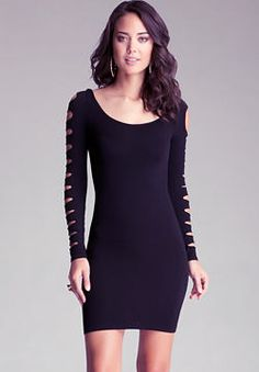 bd8ff0772ce0e Tight fitting mini dress with slash detailed long sleeves and a simple  scoop neck. Throw on your highest heels and hit the town.