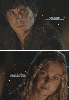 Bellamy and Clarke from The 100 Bellamy The 100, Lexa The 100, Revolution Tv Show, Bellarke Fanfiction, The 100 Quotes, Connection Quotes, 100 Memes, The 100 Show, Bob Morley