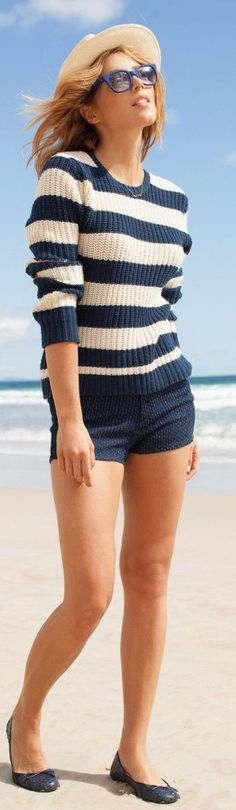 Vanishing Elephant Navy White Striped Nautical Sweater