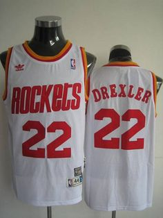 Mitchell and Ness Rockets  22 Clyde Drexler Stitched White Throwback NBA  Jersey Clyde Drexler e5258a1eb