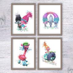 Trolls watercolor poster Set of 4 Trolls art print Kids room