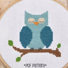 Owl Cross Stitch Pattern - love this picture for other crafts too