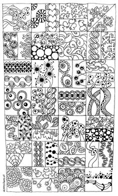 More Zentangle. Zentangle is pretty much a word for random doodles Doodles Zentangles, Zentangle Patterns, Zen Doodle Patterns, Doodle Borders, Fun Patterns, Pattern Ideas, Doodle Designs, Doodle Zen, Tangle Doodle