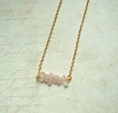 Goldketten - ♥RoséQuarz♥ zarte Kette 925 Silber Rosenquarz Gold - ein Designerstück von MiMaKaefer bei DaWanda