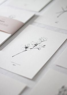 Drawing of a cherry blossom branch by inkylines.