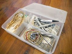 Storing circular knitting needles in a box from Ikea