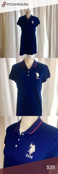U.S. Polo Assn. Navy Dress Navy USPA shirt-dress with red stripe at collar, white Polo patch, & 3 buttons at collar. Perfect for summer. Hits mid thigh. Wear it as dress or cover-up over swimsuit. Really cute with tennis shoes. Travels great. Excellent condition. Non-smoker. Fits size 8-10 perfectly. U.S. Polo Assn. Dresses Mini