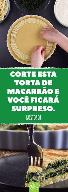 Torta e macarrão não se misturam, você pode pensar. Porém, no mundo culinário (e dos sabores), tudo é possível com a receita certa. A torta de macarrão já é realidade! #receita #torta #macarrao #espinafre #gorgonzola #queijo #tortasalgada #gostoso #delicia #cozinhar #cozinha #culinaria