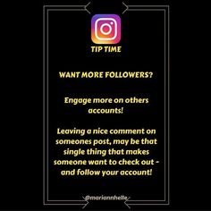 Tip time: We all want more eyes and engagement on our accounts right...? One way to attract more followers is to engage more on other accounts! It's quicker and easier just to doubletap when you see a post you like that's for sure! But why not do what everybody else isn't? Leave a nice comment! Most people will come and check you out like and comment on your posts and if they like what they see - they might even hand you a follow! Want to learn more about building your business online? JOIN…