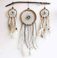 """Dream Catcher Wall Hanging, Completed Bohemian 3"""" and 5"""" Wall Art, Wall Decor, Feathers, Beads, Lace, Boho, Unique, Gypsy, Room Decor"""