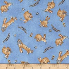 Guess How Much I Love You Flannel Tossed Bunnies Blue