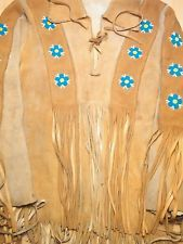 Vintage American Indian Beaded -Leather War Shirt Tunic costume handmade1960's