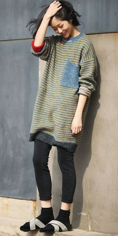 ab1e4a87df6 Vintage Casual Yellow Striped Long Sweater For Women M2352 Comfy Fall  Outfits