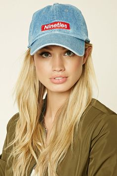 "A denim baseball cap featuring a ""Nineties"" patch and an adjustable back."