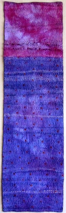"""found on judymartin2012.blogspot - Silver Water side b  (2012) by Judy e Martin - procion dyed cotton and rayon, hand quilted with embroidery floss  14"""" x 54