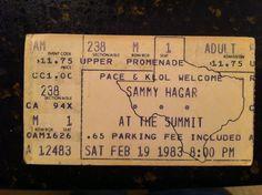 Ticket stub from 1983's Sammy Hagar concert at the Summit in Houston.  Opening act was Night Ranger. #ticketstub #sammyhagar #nightranger