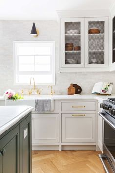 Our Modern English Country Kitchen - Emily Henderson White Kitchen Cabinets, Painting Kitchen Cabinets, Kitchen Backsplash, Granite Backsplash, Kitchen Island, Inset Cabinets, Kitchen Sink, Hexagon Backsplash, Herringbone Backsplash