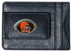 NFL Cleveland Browns Leather Money Clip Cardholder by Siskiyou. $15.50. Magnet clasp for quick and easy access. Genuine fine leather money clip with cardholder perfect organization for cash and cards. Officially Licensed NFL. A great display of your team sprit. Money Clip features a 3D textured football with team logo. NFL Cleveland Browns Leather Money Clip Cardholder