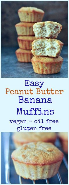 Easy Peanut Butter Banana Muffins @spabettie #vegan #oilfree #glutenfree
