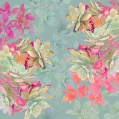 Laura Olivia. Love the soft dusty teal and vibrant flowers! #floral #soothing