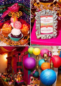 Vibrant & Exotic Bollywood Birthday Party // Hostess with the Mostess® 40th Birthday Party Themes, 40th Birthday Cupcakes, Indian Birthday Parties, Birthday Party Celebration, Birthday Ideas, Birthday Crafts, 90th Birthday, India Theme Party, Indian Party Themes