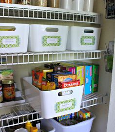 This is my favorite way to organize inside a pantry and/or linen closet - using uniform bins to hold smaller items - this organized gal attached temporary labels with decorative tape and pretty paper that can easily be removed if needed/wanted. Looks great AND will be functional for the long haul! :)