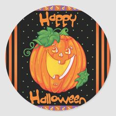 Happy Halloween Laughing Pumpkin 20 Stickers - tap to personalize and get yours  #happy #halloween #pumpkin #label #envelope Halloween Stickers, Halloween Gifts, Halloween Pumpkins, Happy Halloween, Halloween Party, Craft Party, Round Stickers, Fall Crafts, Party Hats