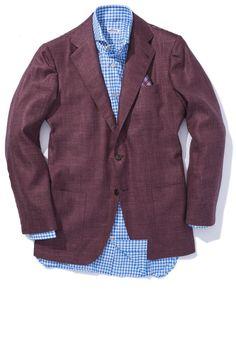 Kiton Buiano Cashmere/Silk/Linen Merlot Sport Coat-Used