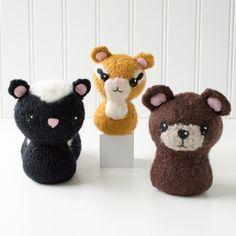 Backyard Critters 2: Skunk, Chipmunk, Bear Felted Knit Amigurumi Pattern, 4 inch