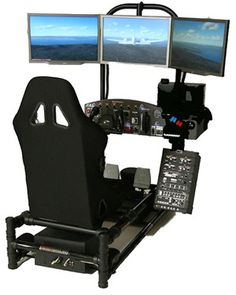 "Created by HotSeat Chassis, this personal flight simulator features a ""built-in custom PC [that] gives you the feeling of flying as it displays virtual skies on the trio of 22-inch LCD monitors in front of the seat – creating a 66-inch panoramic view."" The flights are made possible by some serious hardware: a quad-core processore, …"