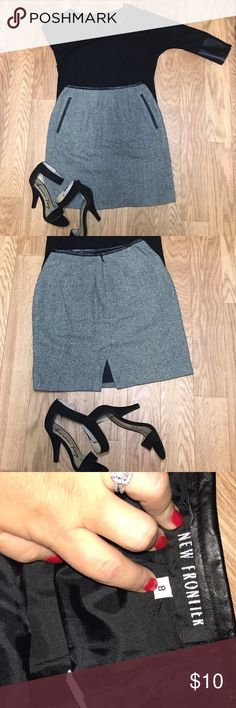 Black And White Striped pencil skirt Leather rim with diagonal striped pencil skirt with slit back. Great condition! Skirts Pencil