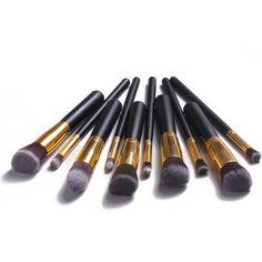 10 Pcs/set  Superior Professional  Makeup Brushes Kabuki Brush Kit   Soft Cosmetic Make up Brush Set Women's Toiletry
