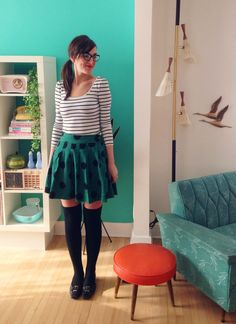 Erin's outfit:  Striped top: from the same local boutique where I used to work with Stef - Para Mix  Polka dot skirt: H  Knee high socks: Forever 21  Shoes: Thrifted  Glasses: from our shop Rhymes With Orange.