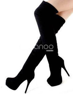"Black 5 3/10"" High Heel 2 2/5"" Platform Monogram Suede Womens Over the Knee Boots"