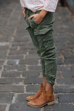 hunter green pants + cognac booties