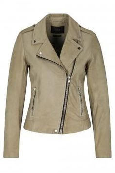 Set Leather jacket in mud 50336 - £360.00 - Blue Saffron Walden ...