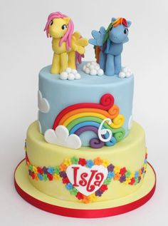 Featuring Rainbow Dash and Fluttershy at the request of the birthday girl - handmade gumpaste toppers...reminded me of being 6!!
