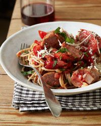 Whole Wheat Spaghetti w/ Sausage and Peppers - Add Spinach and Mushrooms to this
