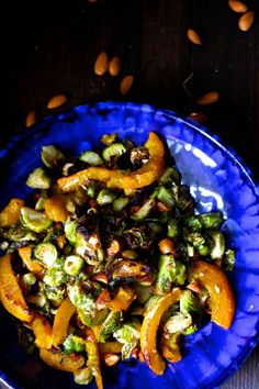 Caramelized Maple Almond Brussels Sprouts and Pumpkin - Naked Cuisine