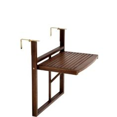 BUTLERS LODGE folding table for balcony railing (brown) - Balkon Ideen - Balcony Furniture Design Balcony Bar, Tiny Balcony, Balcony Railing, Small Balconies, Railing Planters, Balcony Ideas, Balcony Garden, Porch Ideas, Small Balcony Design