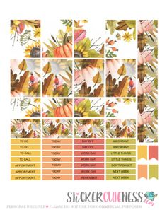 Free Printable Autumn Leaves Planner Stickers from StickerCuteness